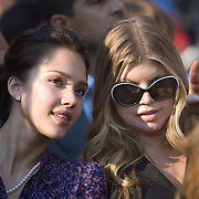 Actress Jessica Alba and entertainer Fergie on the fourth day of the Democratic National Committee (DNC) Convention at Invesco Field in Denver, Colorado (CO), Thursday, Aug. 28, 2008.  ..Photo by Khue Bui