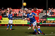 Fiacre Kelleher of Macclesfield Town clears the ball during the EFL Sky Bet League 2 match between Crawley Town and Macclesfield Town at The People's Pension Stadium, Crawley, England on 23 February 2019.