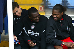 WEST BROMWICH, ENGLAND - Saturday, April 26, 2003: Liverpool's substitutes (l-r) Bruno Cheyrou, Emile Heskey and Salid Diao sit on the bench against West Bromwich Albion during the Premiership match at the Hawthorns. (Pic by David Rawcliffe/Propaganda)