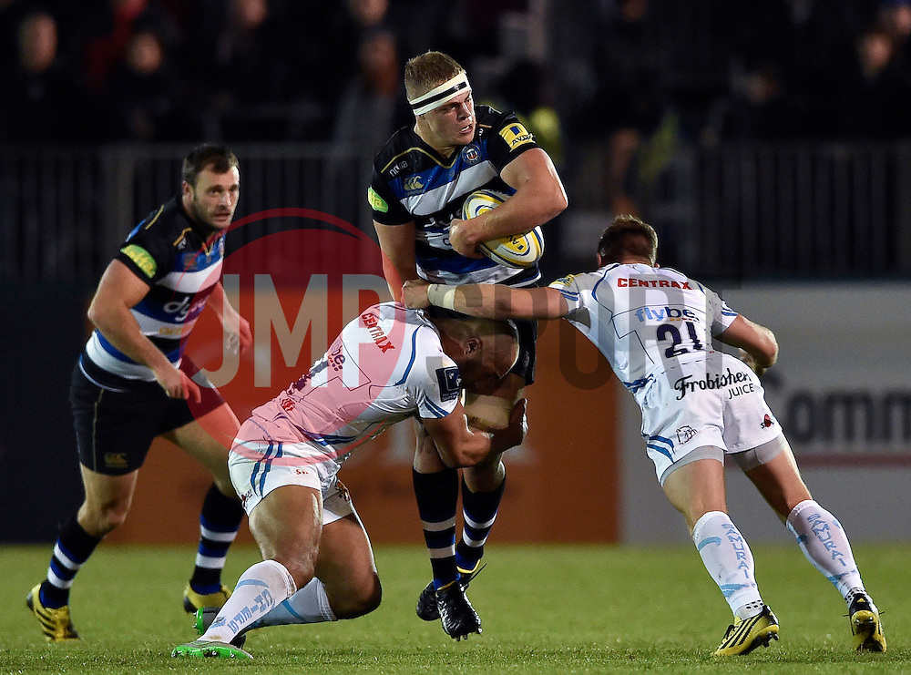 Tom Ellis of Bath Rugby is tackled - Mandatory byline: Patrick Khachfe/JMP - 07966 386802 - 10/10/2015 - RUGBY UNION - The Recreation Ground - Bath, England - Bath Rugby v Exeter Chiefs - West Country Challenge Cup.