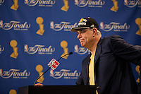 17 June 2010: Head coach Phil Jackson of the Los Angeles Lakers speaks to the media after the Lakers defeat the Boston Celtics 83-79 and win the NBA championship in Game 7 of the NBA Finals at the STAPLES Center in Los Angeles, CA.