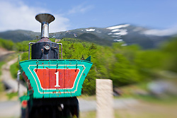 A retired engine, Old Peppersass, at the Mount Washington Cog Railway in Bretton Woods, New Hampshire.