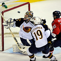 05 April 2009:  Atlanta Thrashers goalie Johan Hedberg (1) makes a save on a shot by Washington Capitals center Michael Nylander (92) in the 1st period at the Verizon Center in Washington, D.C.  The Capitals defeated the Thrashers 6-4.