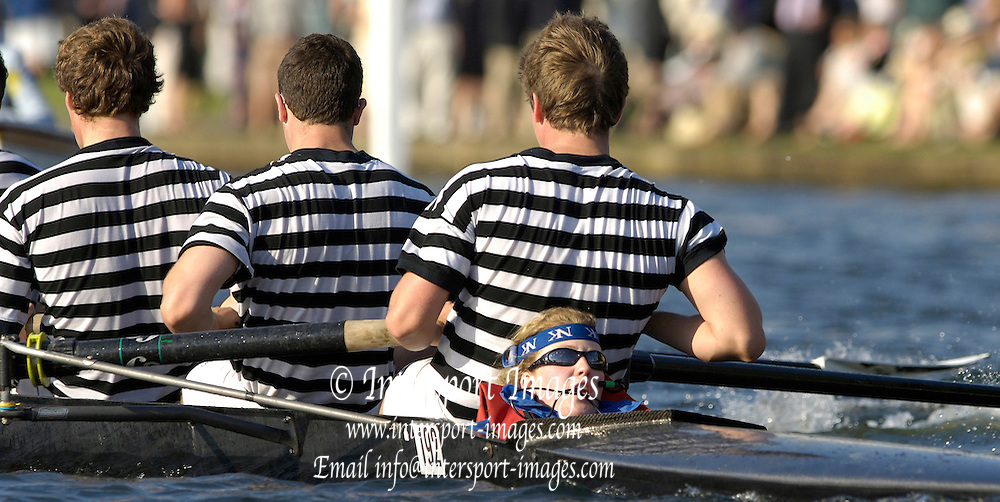 2005 Henley Royal Regatta, Henley on Thames, ENGLAND. Tuesday 29.06.2005  Trinity College Dublin cox, Jane Frauer, urges her crew in the closing stages of their heat of the 'Men's Students Coxed Fours'..Photo  Peter Spurrier. .email images@intersport-images..[Mandatory Credit Peter Spurrier/ Intersport Images] . HRR.