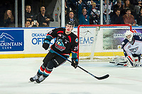 KELOWNA, CANADA - DECEMBER 5:  Nolan Foote #29 of the Kelowna Rockets scores the shoot out winning goal on Talyn Boyko #31 of the Tri-City Americans on December 5, 2018 at Prospera Place in Kelowna, British Columbia, Canada.  (Photo by Marissa Baecker/Shoot the Breeze)