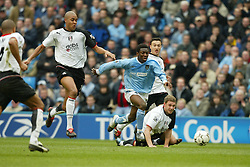 MANCHESTER, ENGLAND - Saturday, March 27, 2004: Manchester City's Sean Wright-Phillips charges through the Fulham defence during the Premiership match at the City of Manchester Stadium. (Pic by David Rawcliffe/Propaganda)