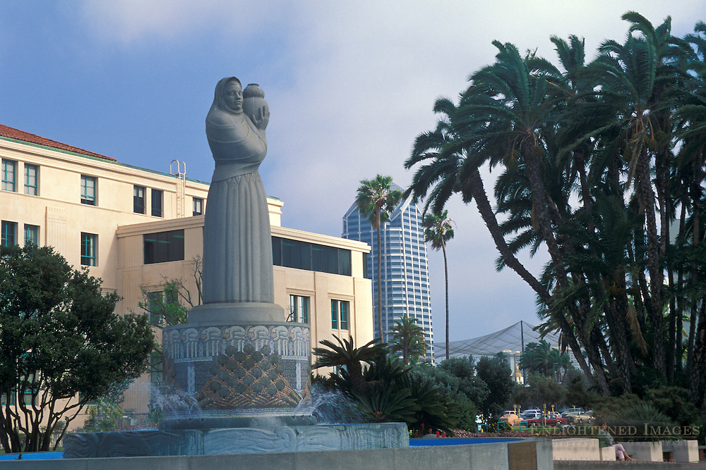 City Administration Building & fountain+San Diego waterfront, San Diego County, CALIFORNIA