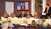 Republicans Harry Accornero, Bob Luther, Robert Kinsbury, Don Flanders and Frank Tilton during the Laconia debate at Beane Conference Center moderated by Ed Engler Monday evening.  (Karen Bobotas/for the Laconia Daily Sun)