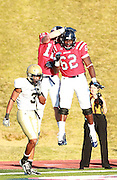 Samford wide receiver Kelsey Pope celerates with Samford offensive lineman Armando Bonheur after scoring to tie the game against  Wofford at Seibert Stadium in Homewood, Ala., Saturday, Oct 13, 2012. Samford defeats Wofford 24-17 in Overtime. (Marvin Gentry)