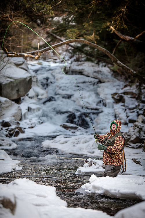 Fly fishing guide Brian Cadoret at Lewis Creek in Starksboro, VT.