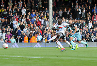 Football - 2016 /2017 Championship - Fulham vs Queens Park Rangers<br /> <br /> Sone Aluko misses from the penalty spot in injury time at Craven Cottage<br /> It was the second penalty in the game they had missed.<br /> <br /> Credit : Colorsport / Andrew Cowie