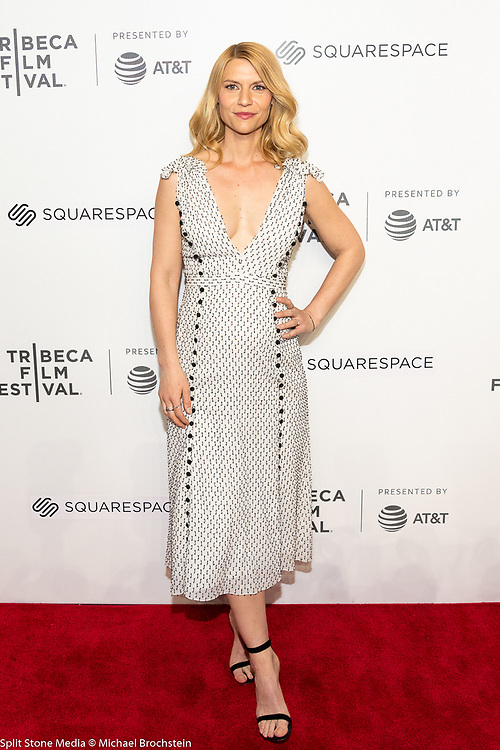 Claire Danes at the Tribeca Film Festival red carpet arrivals in New York City on April 26, 2018
