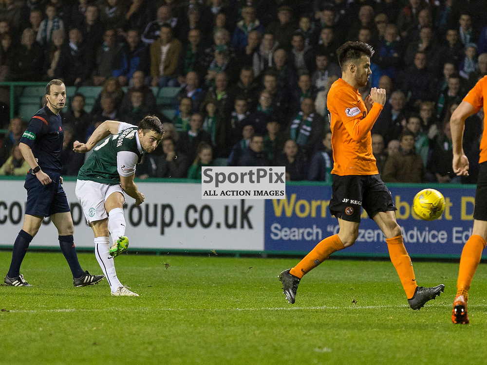 Hibernian FC v Dundee Utd FC<br /> <br /> Lewis Stevenson (Hibernian) scores Hibs third goal during the Quarter Final of the Scottish League Cup match between Hibernian and Dundee Utd FC at Easter Road Stadium on Wednesday 4 November 2015.<br /> <br /> Picture Alan Rennie.