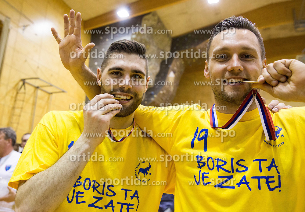 Blaz Janc of RK Celje PL and Luka Zvizej of RK Celje PL celebrate after winning during handball match between RK Celje Pivovarna Lasko and RD Koper 2013 in Final of Slovenian Men Handball Cup 2015/16, on April 17, 2016 in Ribnica, Slovenia. Photo by Vid Ponikvar / Sportida