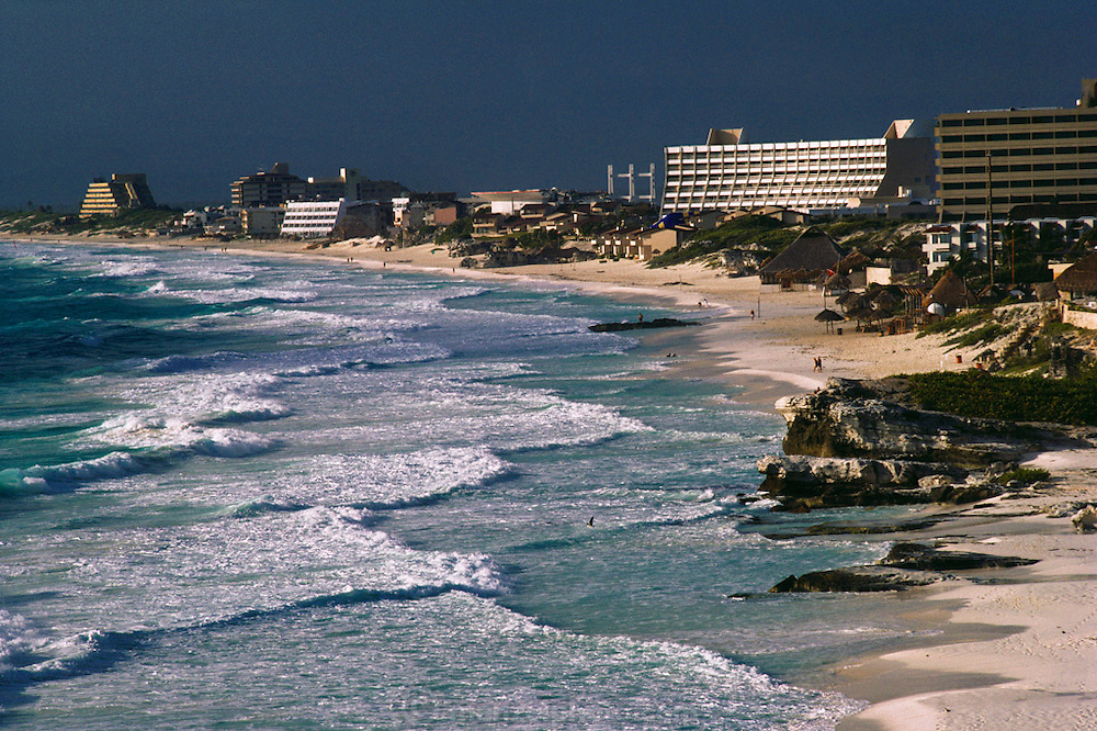 The beach and hotels at Cancun, Mexico.
