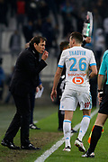 Rudi Garcia and Florian Thauvin of Olympique de Marseille during the French Championship Ligue 1 football match between Olympique de Marseille and Olympique Lyonnais on march 18, 2018 at Orange Velodrome stadium in Marseille, France - Photo Philippe Laurenson / ProSportsImages / DPPI
