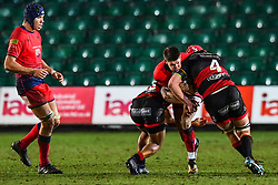 Ben Howard of Worcester Warriors is tackled by Joe Davies of Dragons - Mandatory by-line: Craig Thomas/JMP - 02/02/2018 - RUGBY - Rodney Parade - Newport, Gwent, Wales - Dragons v Worcester Warriors - Anglo Welsh Cup