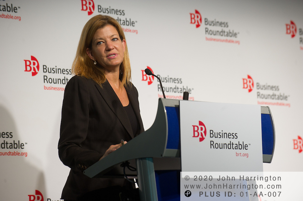 """Maya MacGuineas, President, Committee for a Responsible Federal Budget addresses the attendees of the Business Roundtable """"Meeting the Challenges of Economic Growth and Deficit Reduction"""" discussion at the Newseum in Washington, DC on September 6th, 2011."""