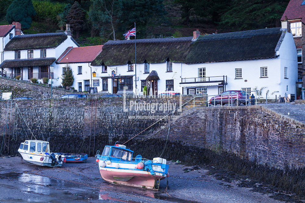 The Rising Sun Hotel, a 14th Century building on the quay in Lynmouth in North Devon