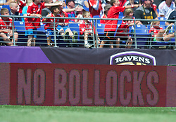 BALTIMORE, MD - Saturday, July 28, 2012: An advert on the electronic ad boards 'No Bollocks' during a pre-season friendly match at the M&T Bank Stadium. (Pic by David Rawcliffe/Propaganda)