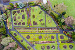 Aerial view of Garden in Pittencrieff Park in winter, Dunfermline, Scotland,UK