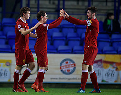 BIRKENHEAD, ENGLAND - Tuesday, December 19, 2017: Liverpool's Harry Wilson celebrates scoring the second goal with team-mate captain Cory Whelan during the Under-23 FA Premier League International Cup Group A match between Liverpool and PSV Eindhoven at Prenton Park. (Pic by David Rawcliffe/Propaganda)