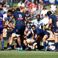 Ryan Louwrens of the Melbourne Rebels during the super rugby match between the Melbourne Rebels and the Cell C Sharks at the  Mars Stadium,Ballarat,Western suburbs of Melbourne,Victoria, Australia, 22,020,2020 (Photo Steve Haag /HollywoodBets)