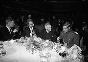 A special screening of the battle scenes from the film 'The Blue Max'  at Ardmore Studios, Bray, Co. Wicklow. Pictures shows An Taoiseach Seán Lemass, Mr. Elmo Williams, Head of Overseas Production 20th Century Fox, and the stars of the film Jamnes Mason and George Peppard at lunch on the set.<br /> 16.09.1965