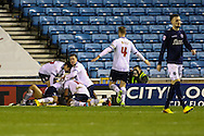 Darren Pratley of Bolton Wanderers celebrates scoring the opening goal against Millwall during the Sky Bet Championship match at The Den, London<br /> Picture by David Horn/Focus Images Ltd +44 7545 970036<br /> 19/12/2014
