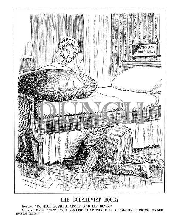 """The Bolshevist Bogey. Europa. """"Do stop fussing, Adolf, and lie down."""" Muffled Voice. """"Can't you realise that there is a Bolshie lurking under every bed.?"""""""