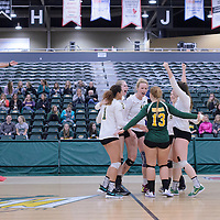Cougars celebrate during the Women's Volleyball Home Game vs Trinity Western  on October 28 at the CKHS University of Regina. Credit Matt Johnson/Arthur Images