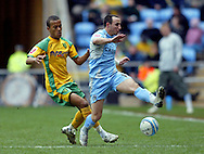 Coventry - Saturday, March 8th, 2008: Michael Mifsud of Coventry City and Ryan Bertrand of Norwich City during the Coca Cola Championship match at the Ricoh Arena, Coventry. (Pic by Paul Hollands/Focus Images)