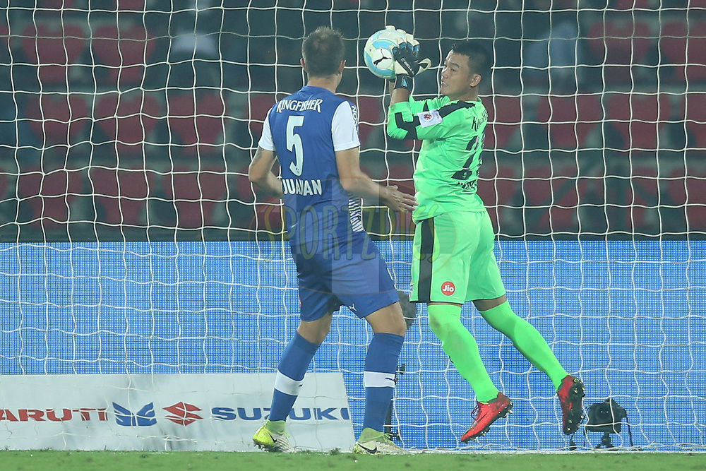 Lathuammawia Ralte of Bengaluru FC saves goal during match 19 of the Hero Indian Super League between NorthEast United FC and Bengaluru FC held at the Indira Gandhi Athletic Stadium, Guwahati India on the 8th December 2017<br /> <br /> Photo by: Deepak Malik  / ISL / SPORTZPICS