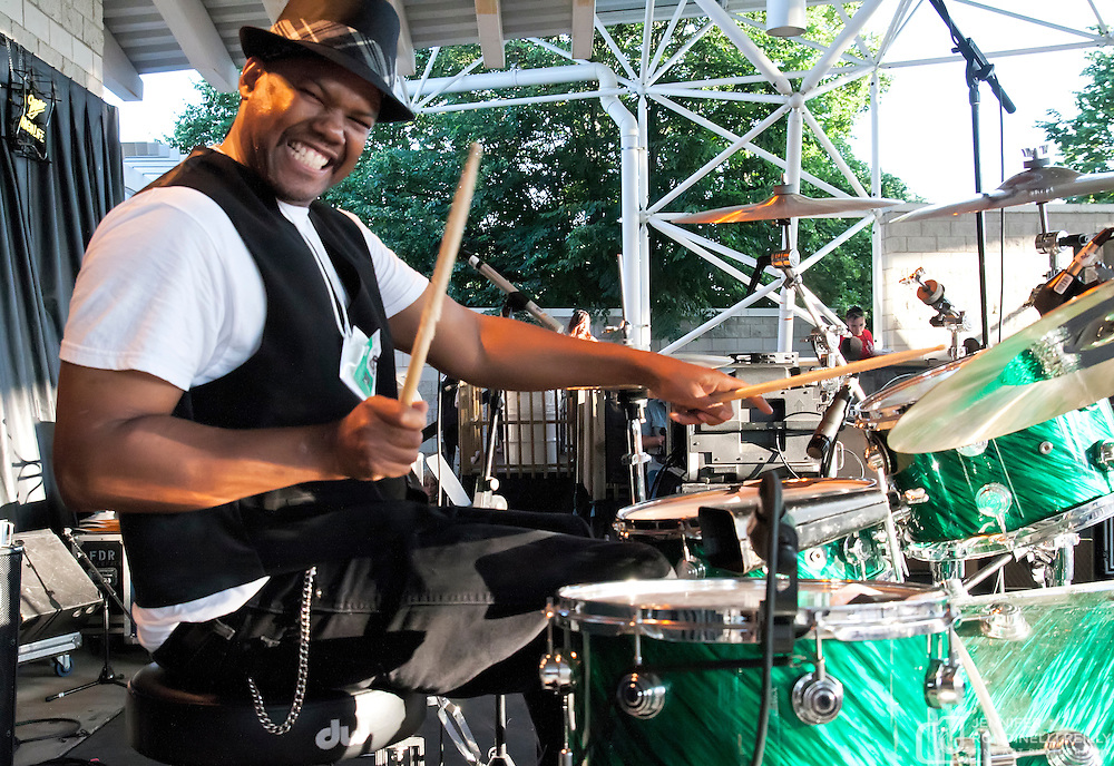 Darrel Douglas on drums with Sue DaBaco live at Summerfest 2011. Photo © Jennifer Rondinelli Reilly. All rights reserved. No use without permission. Contact me for any reuse or licensing inquiries.