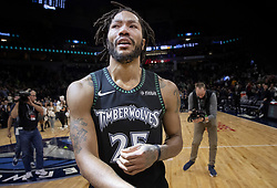 October 31, 2018 - Minneapolis, MN, USA - The Minnesota Timberwolves' Derrick Rose is emotional at the end of the game after he scored a career-high 50 points against the Utah Jazz at the Target Center in Minneapolis on Wednesday, Oct. 31, 2018. The Timberwolves won, 128-125. (Credit Image: © Carlos Gonzalez/Minneapolis Star Tribune/TNS via ZUMA Wire)