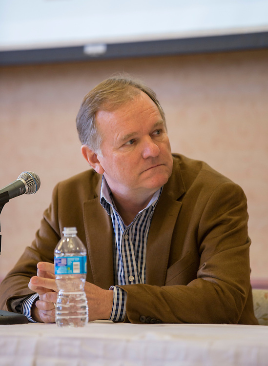 Joe Jachinowski, one of the 2015 Konneker Medal recipients, listens to Winston Breeden III, another 2015 Konnecker Medal recipient, talk during a panel discussion on February 11, 2016. Photo by Emily Matthews