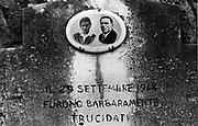 Italia, 2004, dal libro Ci resta il nome. Marzabotto/Monte Sole (Bologna). La peggiore carneficina compiuta dai nazifascisti sulla Linea Gotica. Nella zona appenninica dell'area di Marzabotto, tra il 29 settembre ed il 5 ottobre 1944, i tedeschi al comando di Reder uniti ad altri reparti, eseguono l'ordine di fare terra bruciata nella zona, uccidendo la maggior parte dei civili presenti. Nelle frazioni di Monte Sole, Casaglia, Cerpiano, Creva ed altre si contarono complessivamente nella zona circa 800 vittime tra uomini, donne e bambini fucilati, mitragliati, sventrati, bruciati.Marzabotto/Monte Sole (Bologna).The worst massacre carried out by the Nazis or Fascists on the Gothic Line.  In the Apennines near Marzabotto, between 29 September and 5 October 1944, the Germans commanded by Reder along with other divisions, carried out the order to scorch the area, killing most of the civilians present.  In the areas of Monte Sole, Casaglia, Cerpiano, Creva and others, there were a total of around 800 victims, including men, women and children, shot, machine-gunned, slit open and burned.  The overall number of civilians killed in Nazi and Fascist reprisals was around 10,000. arte, arts, cultura, culture, monument, monumento, sito storico, heritage site