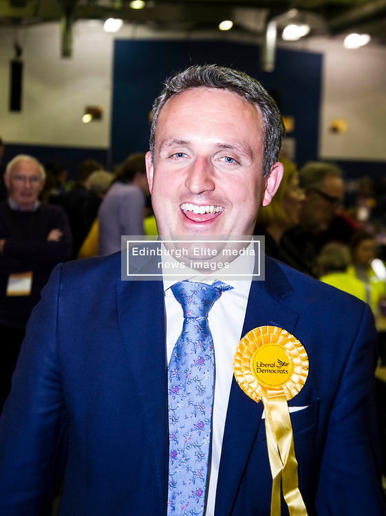 Pictured: Lib Dem Alex Cole-Hamilton in celebratory mood ahead of his result<br /> <br /> <br /> The count has started for the Edinburgh Count as part of the Scottish Election 2016. A long night is anticipated with results predicted to start being announced around 7 AM<br /> <br /> <br /> <br /> Ger Harley | EEm 5 May 2016