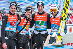 24.02.2019, Bergiselschanze, Innsbruck, AUT, FIS Weltmeisterschaften Ski Nordisch, Seefeld 2019, Skisprung, Herren, Teambewerb, Wertungssprung, im Bild v.l.: Andreas Schuler (SUI), Simon Ammann (SUI), Luca Egloff (SUI), Killian Peier (SUI) // f.l.: Andreas Schuler (SUI) Simon Ammann (SUI) Luca Egloff (SUI) Killian Peier (SUI) during the competition jump for the men's skijumping Team competition of FIS Nordic Ski World Championships 2019 at the Bergiselschanze in Innsbruck, Austria on 2019/02/24. EXPA Pictures © 2019, PhotoCredit: EXPA/ Dominik Angerer