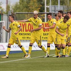 Josh Mullin of Livingston celebrates with team mates and features his delight towards the bench. Falkirk v Livingston, Ladbrokes Championship, 23rd September 2017. (c) Paul Cram | SportPix