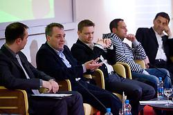 Dimitrij Hlastec na okrogli mizi na temo urejenosti nogometnih klubov, vzdusja ter obiska na stadionih, nogometne infrastrukture itd. v organizaciji SportForum Slovenija, Austria Trend Hotel, Ljubljana, 26. marec 2009. (Photo by Vid Ponikvar / Sportida)