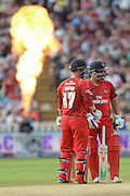 Alex Davies and Ashwell Prince  during the NatWest T20 Blast final match between Northants Steelbacks and Lancashire Lightning at Edgbaston, Birmingham, United Kingdom on 29 August 2015. Photo by David Vokes.