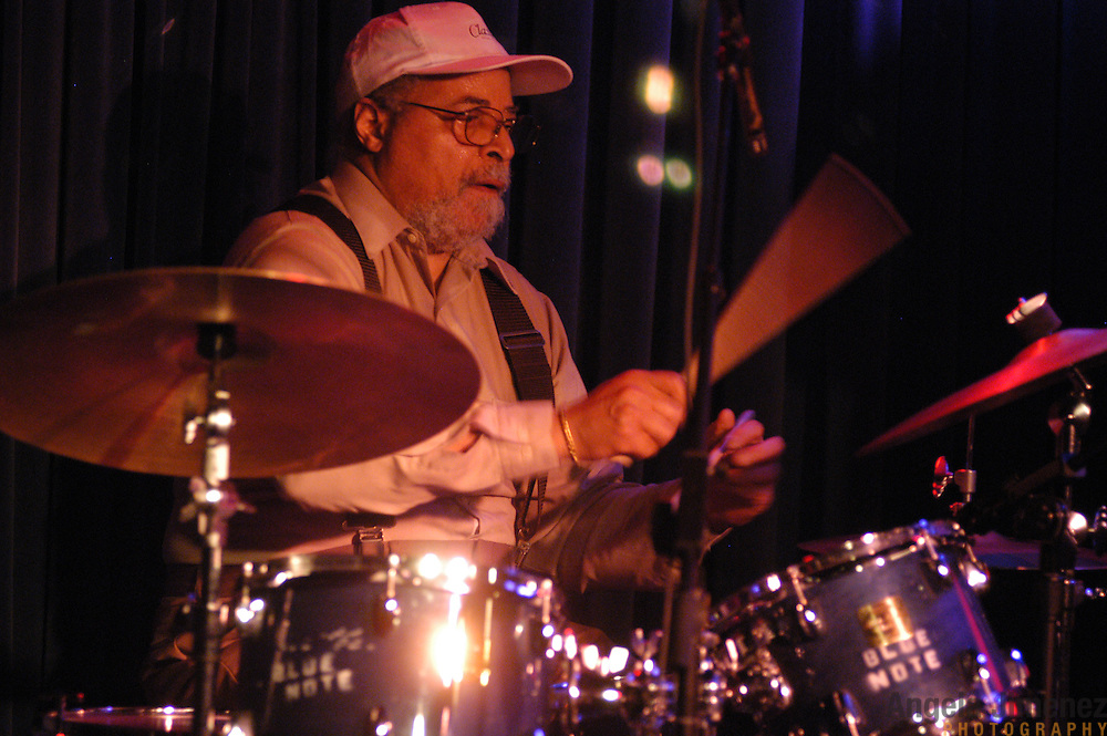 Drummer Jimmy Cobb performs with The Four Generations of Miles band (all of whom played with Miles Davis) at the Blue Note jazz club in Manhattan on June 10, 2003.