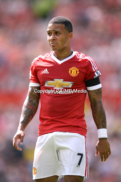 Manchester United's Memphis Depay in action during the Barclays Premier League match at Old Trafford, Manchester.