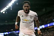 Manchester United Midfielder Fred celebrates during the Champions League Round of 16 2nd leg match between Paris Saint-Germain and Manchester United at Parc des Princes, Paris, France on 6 March 2019.