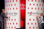 14-6-2016 AMSTERDAM - The King Willem Alexander made on Tuesday, June 14 in Amsterdam, the official opening of World Blood Donor Day. With World Blood Donor Day - one of the eight international health days of WHO - prompted worldwide attention for voluntary and unpaid blood donation. Every year the opening in a different country. This year's host country, Sanquin Netherlands organizes the opening. COPYRIGHT ROBIN UTRECHT AMSTERDAM - de Koning Willem Alexander verricht op dinsdag 14 juni in Amsterdam de officiële opening van Wereld Bloeddonordag. Met Wereld Bloeddonordag  - één van de acht internationale gezondheidsdagen van de WHO - wordt wereldwijd aandacht gevraagd voor vrijwillig en onbetaald bloeddonorschap. Elk jaar vindt de opening in een ander land plaats. Dit jaar is Nederland gastland en organiseert Sanquin de opening. COPYRIGHT ROBIN UTRECHT