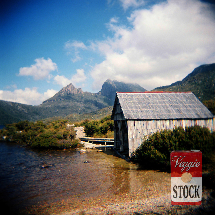 The old boat shed on Dave Lake with Cradle Mountain in the background, Tasmania, Australia, April 2009.