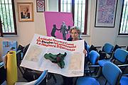 Palermo: Maria falcone nella sede della fondazione Giovanni Falcone con i lavori fatti dai ragazzi delle scuole.<br /> Palermo: Maria sister of Giovanni Falcone shows handcrafts made by students