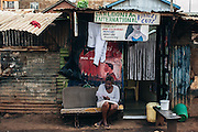 Manicure beauty shop in Kibera slum, Kenya