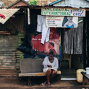 Manicure beauty shop in Kibera slum, Kenya